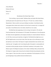 Revolutionary War Position Paper- Patriot