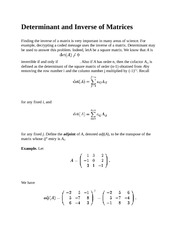 Determinant and Inverse of Matrices