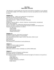 HTM2454, Nancy McGehee, spring 2014, quiz 3 study guide- ch10 cultural and international tourism for