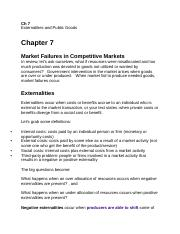 Ch. 7 Market Inefficiencies and Exteralities