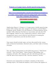 Prepare a 2-3 page report double spaced using proper