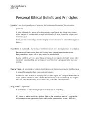 Personal Ethical Beliefs and Principles.docx