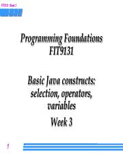 Week 3 Lecture - Java constructs
