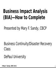 Business Impact Analysis (BIA)--How to Complete