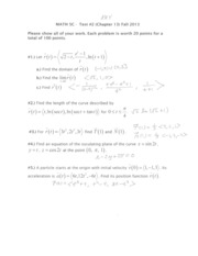 Math 5C Test #2 Fall 2013 SOLUTIONS