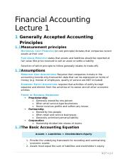 Financial Accounting Lecture 1 Notes