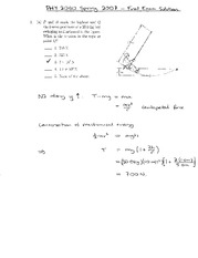 Final Exam Solution Spring 2007 on Physics 1 Honors with Mechanics