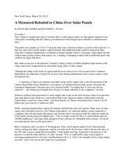 NY TIMES CHINA OVER SOLAR PANELS