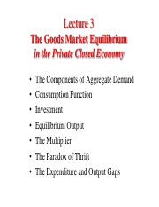Lecture 3. Goods Market Equilibrium in the Private Economy (6)
