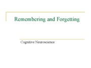 Memory - Remembering and Forgetting