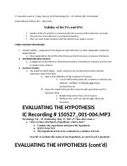 Psychology 311 - 01 Validity - Hypothesis - VARIATION - May 22nd - June 15th