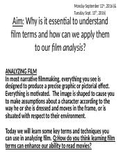 How to Read a Film, FILM TERM BASICS lesson