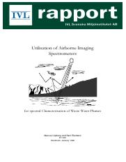 Utilization of airborne imaging spectrometers for spectral characterization of wast water plums