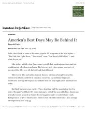 NYT America's Best Days May Be Behind It - The New York Times