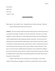 Equity Pedagogy Annotated Bibliography