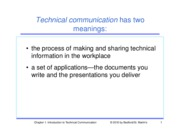 Chapter 1 - Introduction to Technical Communication
