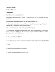 Advanced AuditingProfessor Whisenant Assignment #1 Due week of FEB6