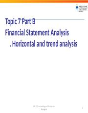 LB5212 Topic 7 Part B Financial Statement Analysis - horizontal and trend  analysis