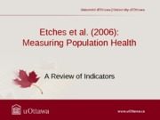Etches et al. Population Health Model Summary Fall 2013
