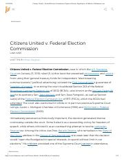 Citizens United v. Federal Election Commission _ Opinion, Dissent, Significance, & Influence _ Brita