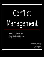 PA462 Lecture Conflict Management fall 2014 Sloskey coverage