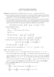 notes Overview of Sequences and Series