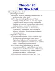Chapter 26- The New Deal