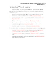 RES 351 Week 3 Individual Assignment Understanding Business Research Terms and Concepts Part 1