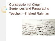 Chapter 3- Construction of Clear Sentences and Paragraphs