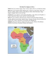 The Main Five Regions of Africa.doc