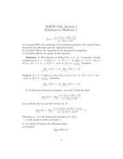 MATH 1101 Fall 2013 Midterm 1 Solutions