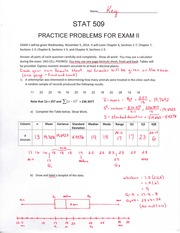 Statistics for Engineers Practice Exam 2 Answer Key