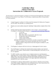 Instructions for Collaborative Course Proposals