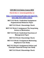 UOP MGT 312 Entire Course NEW.doc