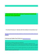Chamberlain NR 505 Clinical Practice Guidelines Analysis and Application.docx