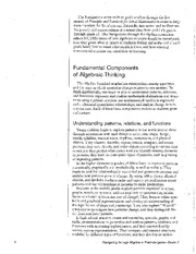 Components of Algebraic Thinking NCTM MATH 2203