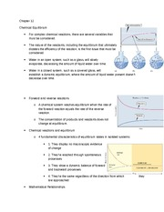 Chapter 12 Notes: Chemical Equilibrium
