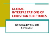 Religion 206_Patte_Lecture Notes on Introduction to Global Interpretations of Christian Scriptures
