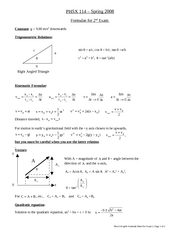 Formula Sheet for Exam 2 [Spring 2008]