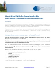 Five Skills Critical for Team Leadership