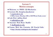 Lecture 1 on Motion Concepts