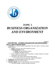 Topic 1 - Business Organization and Environment