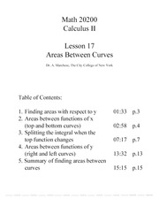 Calc II Lesson 17 Areas Between Curves