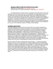 Human Structure Function II Syllabus - Spring 2012