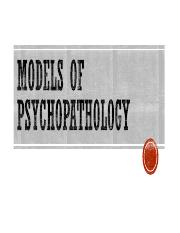 Lecture 3 Models of Psychopathology