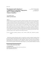 Development and Evaluation of a Multicultural Counseling Competencies