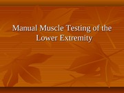 Kinesiology MMT Lower Extremity
