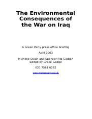 The Environmental Consequences of the War on Iraq 2