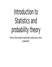 Introduction to Statistics and probability theory
