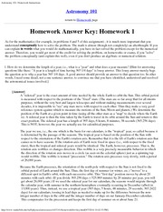Astronomy 101_Homework Solutions on Measuring Time